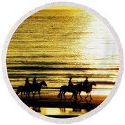 Rider Silhouettes Against The Sea Round Beach Towel