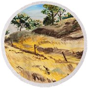 Riding By Back Road  Round Beach Towel