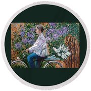 Riding Bycicle For Lilac Round Beach Towel