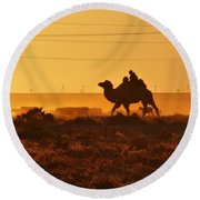 Riding Into The Sunset Round Beach Towel