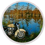 Riding The Mississippi Delta Round Beach Towel