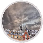 Riga Architecture Round Beach Towel