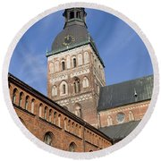 Riga Cathedral Round Beach Towel