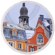 Riga Old Town Round Beach Towel