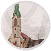Riga St Johns Church Round Beach Towel