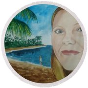 Rincon Girl Round Beach Towel by Frank Hunter