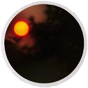 Ring Of Fire - Eerie Bushfire Sunset Round Beach Towel