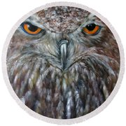 Rings Of Fire, Owl Round Beach Towel