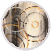 Rings Of Gold Abstract Painting Round Beach Towel
