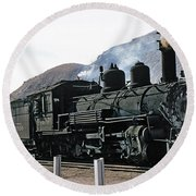 Rio Grande Railway Baldwin Built In 1903 No. 464 Circa 1955 Round Beach Towel