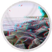 Rip Rap - Use Red-cyan 3d Glasses Round Beach Towel