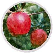 Ripe Red Apples On Tree Round Beach Towel