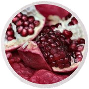 Ripe Red Pomegranate Close Up Round Beach Towel
