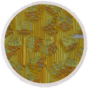 Rippled Dice Abstract Round Beach Towel