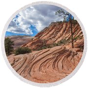 Rippled Rock At Zion National Park Round Beach Towel