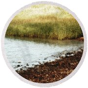 Rippled Water Rippled Reeds Round Beach Towel