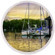 Ripples At Sunset Round Beach Towel