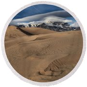 Ripples Dunes And Clouds Round Beach Towel