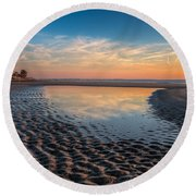 Ripples In The Sand Round Beach Towel by Debra and Dave Vanderlaan