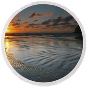 Ripples On The Beach Round Beach Towel