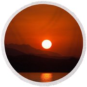 Rise Over Peaks Round Beach Towel