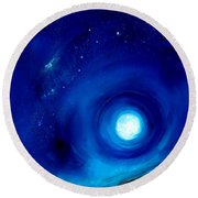 Rising Desert Moon Round Beach Towel