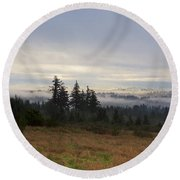 Rising From The Mist Round Beach Towel