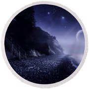 Rising Moon Over Ocean And Mountains Round Beach Towel by Evgeny Kuklev