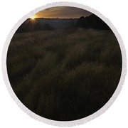 Rising Over The Hills Round Beach Towel