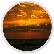 Rising Sun In The Clouds  Round Beach Towel