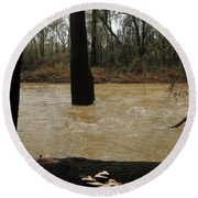 Rising Waters With Timber Round Beach Towel