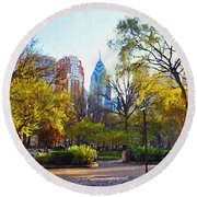 Rittenhouse Square In The Spring Round Beach Towel
