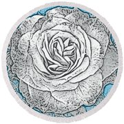 Ritzy Rose With Ink And Blue Background Round Beach Towel