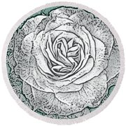 Ritzy Rose With Ink And Green Background Round Beach Towel