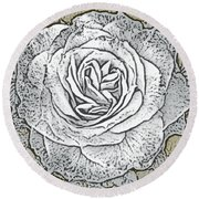 Ritzy Rose With Ink And Taupe Background Round Beach Towel