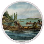 Rival Fur Traders  Round Beach Towel