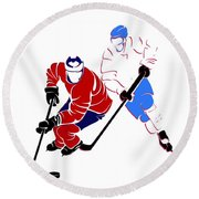 Rivalries Canadiens And Nordiques Round Beach Towel