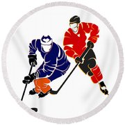 Rivalries Oilers And Flames Round Beach Towel