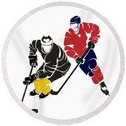 Rivalries Penguins And Capitals Round Beach Towel