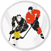 Rivalries Penguins And Flyers Round Beach Towel