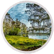 River 2 Hdr Round Beach Towel