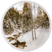 River And Path Round Beach Towel