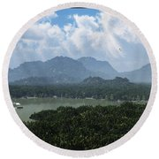 River And Riverboat... Round Beach Towel