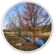 River And Winter Trees Round Beach Towel