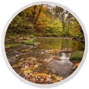 River Blyth In Autumn Vertical Round Beach Towel