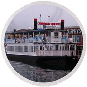 River Boat At Dock Round Beach Towel