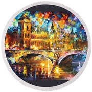 River City - Palette Knife Oil Painting On Canvas By Leonid Afremov Round Beach Towel