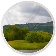 River Course At Alisal Solvang California 6 Round Beach Towel