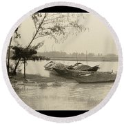 River Fishing Boats In Hoi An Round Beach Towel