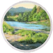 River Forks Morning Round Beach Towel
